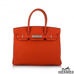 Hermès 30cm Birkin PHW Capucine Togo Handbag